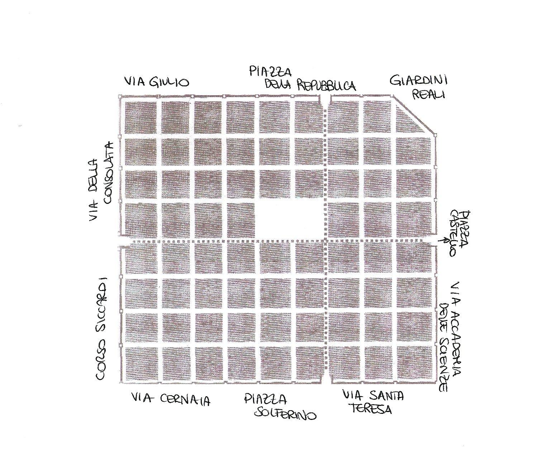 Torino romana: pianta della città con riferimenti alle strade attuali