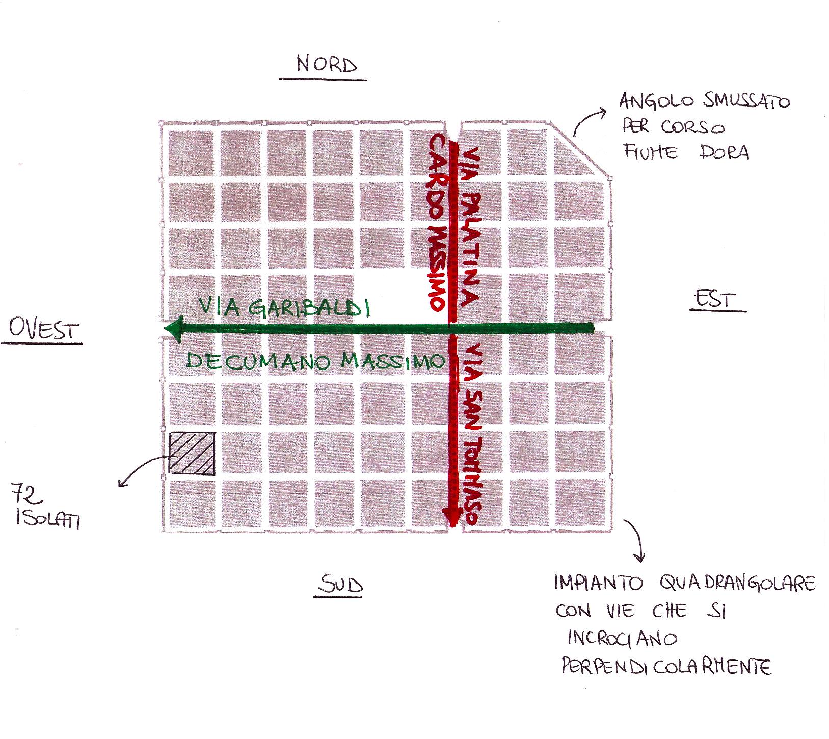 Torino romana: pianta della città con cardi e decumani