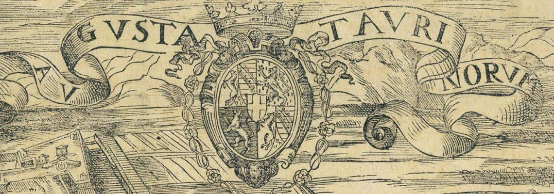 """Foto post Torino romana: dettaglio di """"Augusta Taurinorum"""" di Giovanni Caracha, incisione di Giovanni Criegher, 1572."""