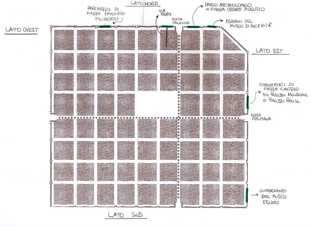 I ritrovamenti archeologici delle mura romane di Iulia Augusta Taurinorum (©disegno GAT 2009)