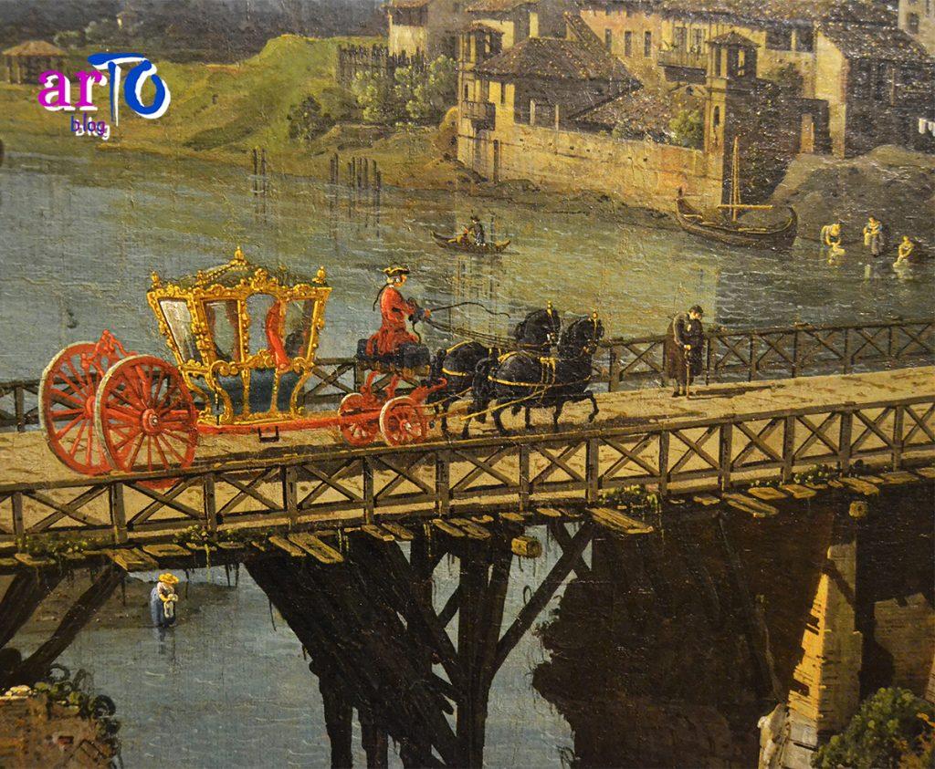 Bernardo Bellotto - dettaglio con la carrozza che attraversa il ponte della Veduta dell'antico ponte sul Po a Torino