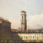 Bernardo Bellotto - dettaglio con la cupola della Cappella della Sindone e il campanile del Duomo della Veduta di Torino dal lato dei Giardini Reali