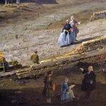 Bernardo Bellotto - dettaglio con l'artista al lavoro della Veduta dell'antico ponte sul Po a Torino