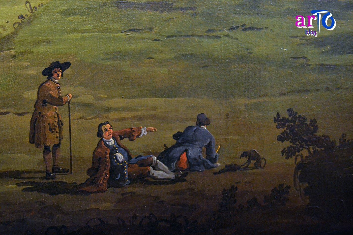 Bernardo Bellotto - dettaglio con l'artista intento nel suo lavoro della Veduta di Torino dal lato dei Giardini Reali