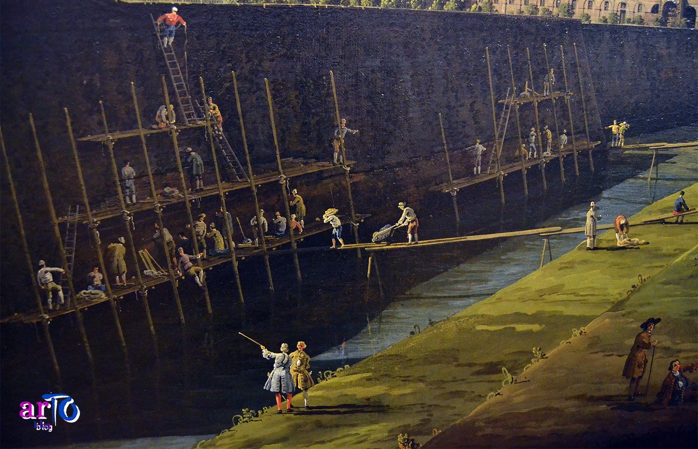 Bernardo Bellotto - dettaglio dei lavori di restauro delle mura del Bastion Verde della Veduta di Torino dal lato dei Giardini Reali