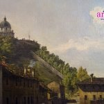 Bernardo Bellotto - dettaglio del Monte dei Cappuccini nella Veduta dell'antico ponte sul Po a Torino