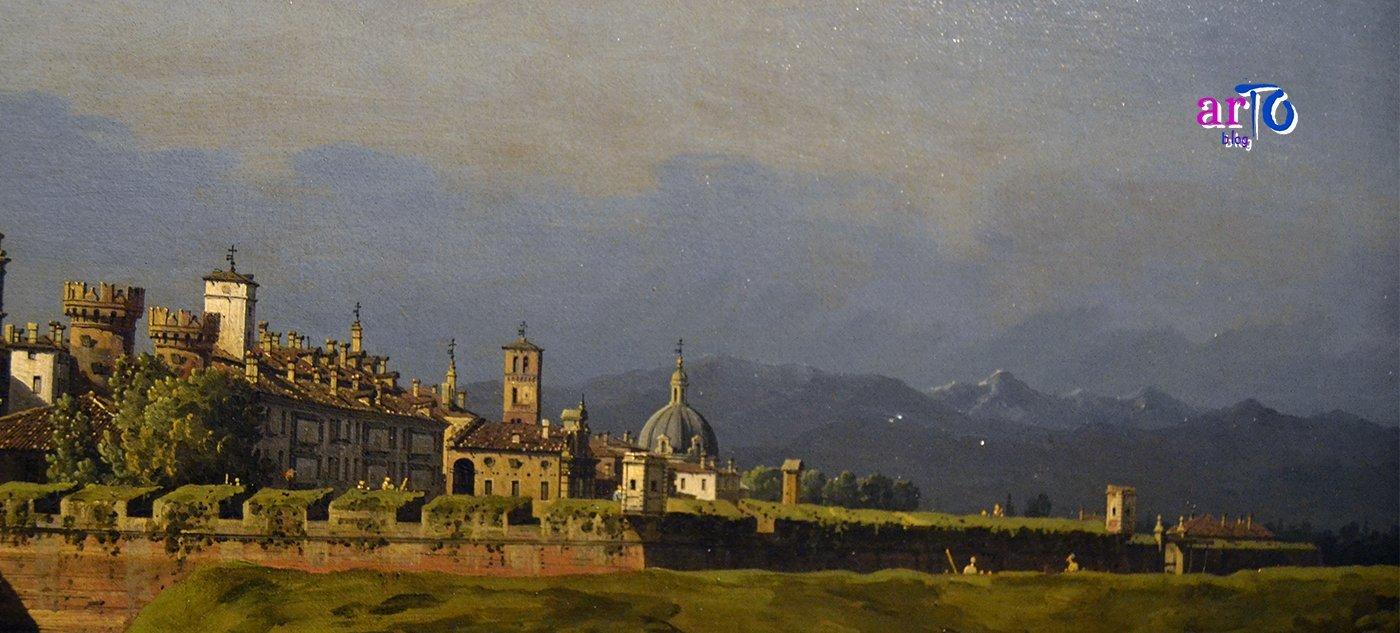 Bernardo Bellotto - dettaglio del panorama della Veduta di Torino dal lato dei Giardini Reali