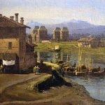 Bernardo Bellotto - dettaglio del porto di Torino nella Veduta dell'antico ponte sul Po a Torino