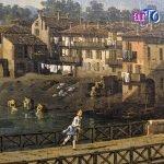 Bernardo Bellotto - dettaglio della sponda con le lavandaie nella Veduta dell'antico ponte sul Po a Torino