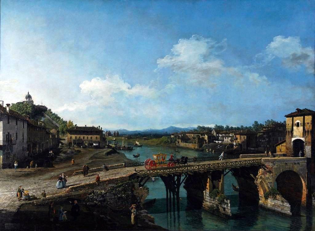 Bernardo Bellotto. Veduta dell'antico ponte sul Po (1745) - Galleria Sabauda Torino