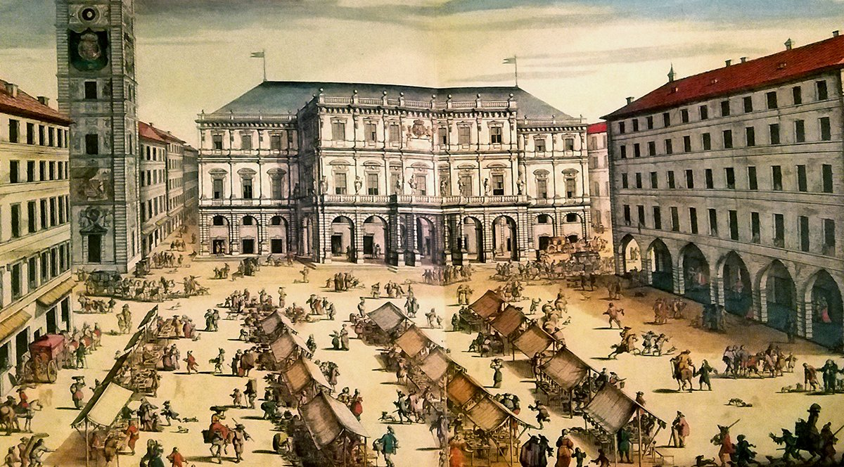"""Piazza delle Erbe, il Palazzo di Città e la Torre Civica - incisione anonima su disegno di G. T. Borgonio del 1674 (dal """"Theatrum Sabaudiae)"""
