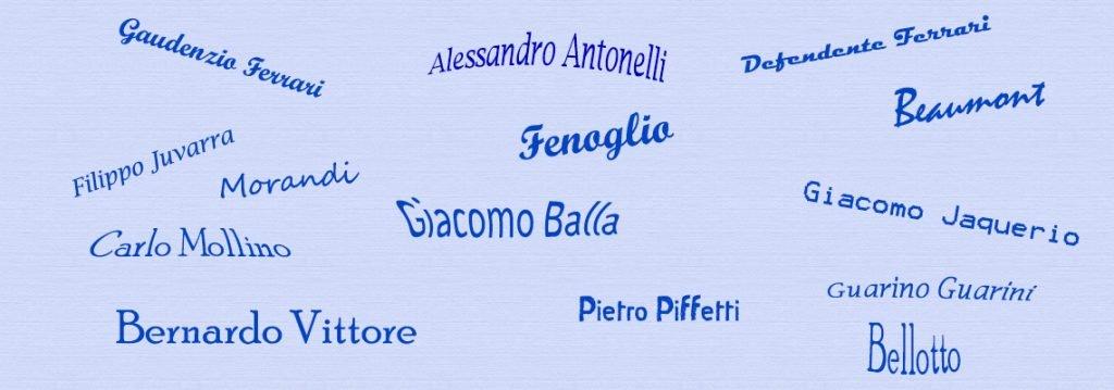 immagine in evidenza della pagina con i nomi dei principali artisti di Torino