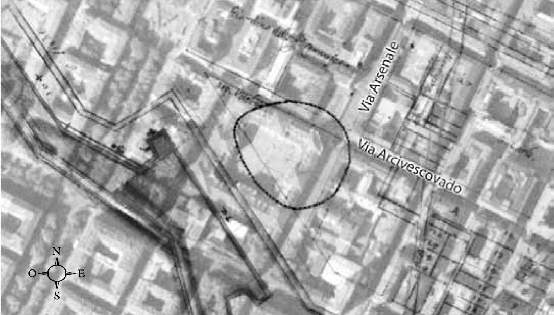 sovrapposizione della carta del Sanfront con l'attuale tracciato stradale (dal periodico Taurasia-2013)