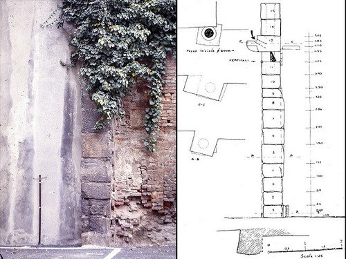 L'acquedotto della Torino romana -blocchi di tubatura in pietra riutilizzati come contrafforte del muro in via Botero, © Soprintendenza per i Beni Archeologici del Piemonte
