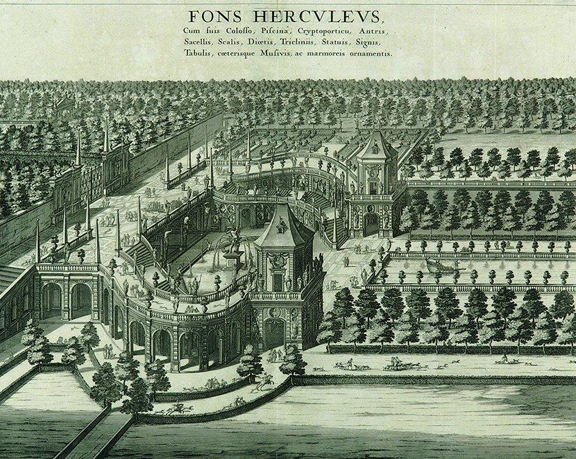 veduta di Giovanni Tommaso Borgonio della fontana d'ercole della Reggia di Venaria